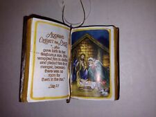 Christmas Holiday Ornament Religious Holy Bible Adoring Christ the Lord Luke 2:7