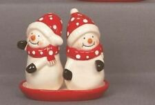 SNOWMAN CUDDLING SALT PEPPER XMAS TRADITIONAL SHAKER TABLE CRUET SET~FREE PP UK