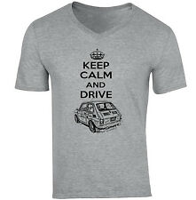 MALUCH POLISH FIAT 126 P KEEP CALM AND DRIVE 1P - NEW COTTON GREY V-NECK TSHIRT