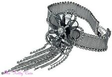 Black Deco Gatsby Lace Mesh Flower Bridal Choker Necklace w/ Swarovski Crystals