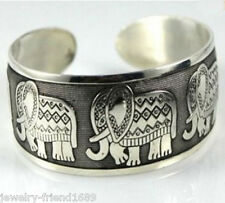 Jewelry Tibet Silver carved lucky elephants Bracelet Cuff Free Shipping