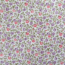 2 Yards, 100% Cotton Quilting Sewing Fabric Pink & Purple Cottage Flower Calico