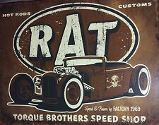 Rat Torque Hot Rod Custom TIN SIGN retro Vtg Decor Garage Speed Shop