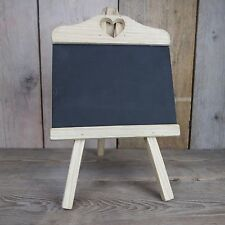 SMALL Wooden Chalk Memo Board Blackboard Easel/Stand Heart Cut Out Wedding Home1