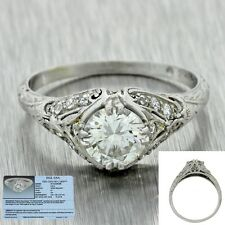 1930 Antique Art Deco Filigree Platinum 0.85ctw Diamond Engagement Ring EGL