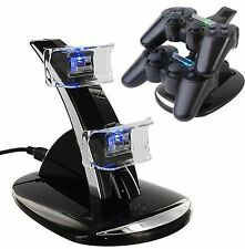 DUAL USB Caricabatterie Docking Station Stand ricarica per Playstation 3 PS3 CONTROLLER