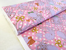 by METRE Cosmo pink OCTOPUS POLKA DOT 100% Cotton fabric quilting pastel kawaii