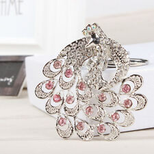 Lovely Peacock Crown Silver Metal Charm Pendant Crystal Purse Bag Key Ring Chain