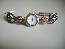 GENEVA BRUSH SILVER/ROSE GOLD & HEMATITE PEACE SIGN WATCH