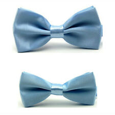 2PC Men Match Boy Kids Child Bow Tie Plain Satin Solid Color Pre-tied Bowtie Set