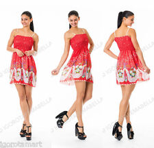 Women Summer Casual Sleeveless Floral Red Mini Party Beach Light Dress