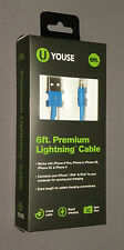 U Youse 6ft Premium Lightning Cable Phone Charger iPhone Sync BLUE