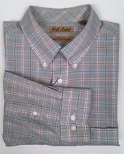 NWT Gold Label Roundtree & Yorke Non-Iron Long-Sleeve Tan Plaid  Men's Shirt XL