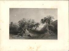 Stampa antica GETSEMANI Monte Ulivi Gerusalemme Jerusalem 1857 Old antique print