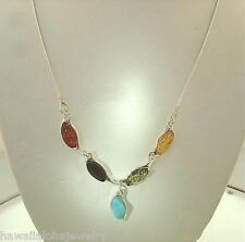 """STER Silver Genuine Baltic Sea Mixed Marquise Amber Larimar Gems Necklace 18"""" #2"""