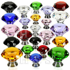 Diamond Crystal Glass Door Knob Drawer Kitchen Cupboard Cabinet Furniture Handle