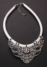 Grandeur Chrome Flower & Clear Diamanté Dove White Chord Bib Necklace(Ns13)