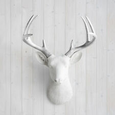 Wall Charmers Deer in White + Silver Antler Faux Head Fake Animal Taxidermy Stag