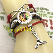 Chicago Blackhawks hockey NHL Cabochon Glass Charm Infinity Bracelets Fashion