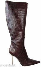 """Renzi Made In Italy Stiletto Embossed Leather Boots EU 40 Shoes Heels 4 1/2"""""""