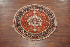 Persian 4X4 Round Veg' Dye Antiqued Serapi Hand-Knotted Wool Area Rug Carpet