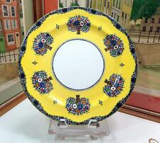 "ANTIQUE ROYAL WORCESTER LARGE 12.5"" YELLOW ENAMEL FLOWER VASE PLATE CHARGER 1918"