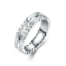 White Gold Plated Hollow Zircons bridal engagement ring 17.5 mm size O FR224