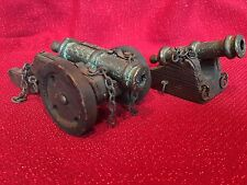 LOT 2 Vintage Model Spanish Naval/Artillery Cast Metal Cannon
