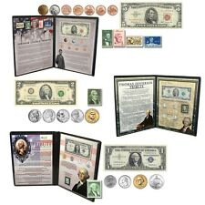 Washington Jefferson Lincoln Coin Currency Banknote and Stamp Collection Folder