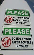 Restroom Toilet Caution Sticker  set of 2   11inx8.5in