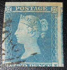 """GB QV 2d Blue SG14 Two Pence IMPERF """"G-E"""" 1841-51 Used Stamp (No140)"""