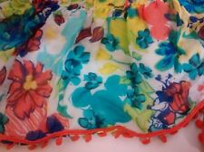 NWT Disney Parks Hidden Mickey Mouse Minnie Floral Scarf Ruffled - Fall Colors!