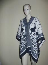 SEE BY CHLOE Reindeer Heart Knit Motif Grey Cream Holiday Wool Oversize Cape