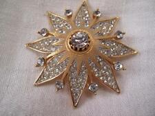VTG ESTATE JEWELRY SIGNED LISNER GOLD TONE RHINESTONES CRYSTAL BROOCH PIN
