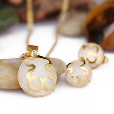 Cool Gold Stainless Steel White Stone bear design Necklace Pendant & Earring Set