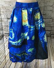 Vincent Van Gogh Starry Night Skirt Size Large Pleated Flare High Waist