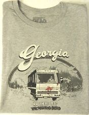 New Walking Dead XL Video Game T Shirt Gray Georgia RV There Yet Zombies Walkers