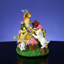 Gorgeous San Francisco Music Box Bobbing Cats on Garden Cart NIB Kitten
