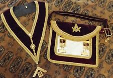 OLD MASONIC DARK RED VELVET APRON AND SASH WITH JEWEL ISRAEL ~ Rare