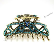 Beautiful blue rhinestone crystal hair claw clip bronze alloy free shipping USA