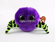"6"" TY Beanie Boos Crawly Halloween Purple Green Spider Stuffed Animals Girl Toys"
