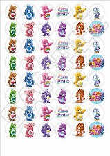48 x Care Bears edible wafer paper fairy cake bun toppers