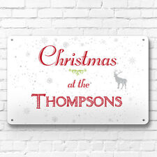 Personalised White Christmas family name decor metal sign A4 picture wall art