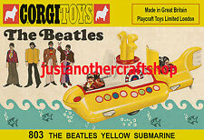 Corgi Toys 803 de The Beatles Yellow Submarine 1969 A3 CARTEL ANUNCIO FOLLETO signo