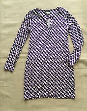 Diane von Furstenberg DVF Reina L/S Purple Chain Link Tunic Dress Sz 4 NWT