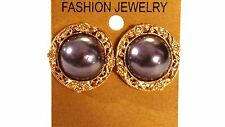 CLIP-ON EARRINGS PEARL CRYSTAL ASSORTED COLORS 1 INCH GOLD TONE RIM