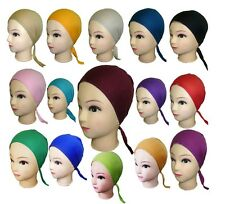 12 X Ladies Under Scarf Hijab Tie Back Bone Bonnet Cap Chemo Hat