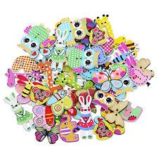 50Pcs Mixed Cartoon Animal Wooden Buttons Sewing Craft Scrapbooking DIY Dulcet