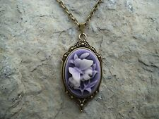 PURPLE BUTTERFLY CAMEO NECKLACE- BRONZE,WEDDING, XMAS, GIFTS, VINTAGE LOOK!!!