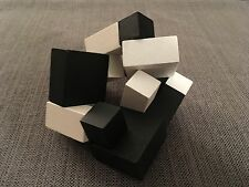 playableART Yin-Yang Cube Puzzle, Black & White Wood Sculpture